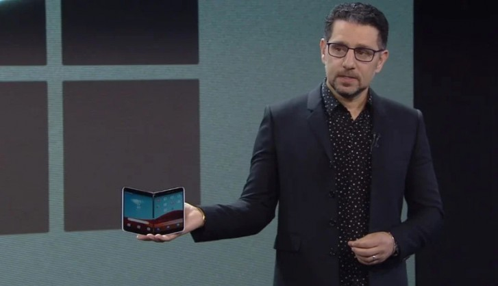 Panos Panay introducing the Surface Duo at a Microsoft hardware event last year
