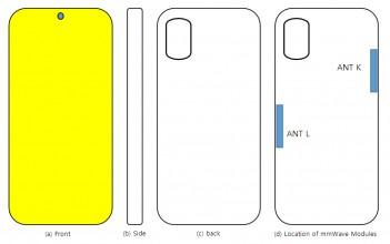 Samsung Galaxy A71s UW schematics: mmWave antenna placement