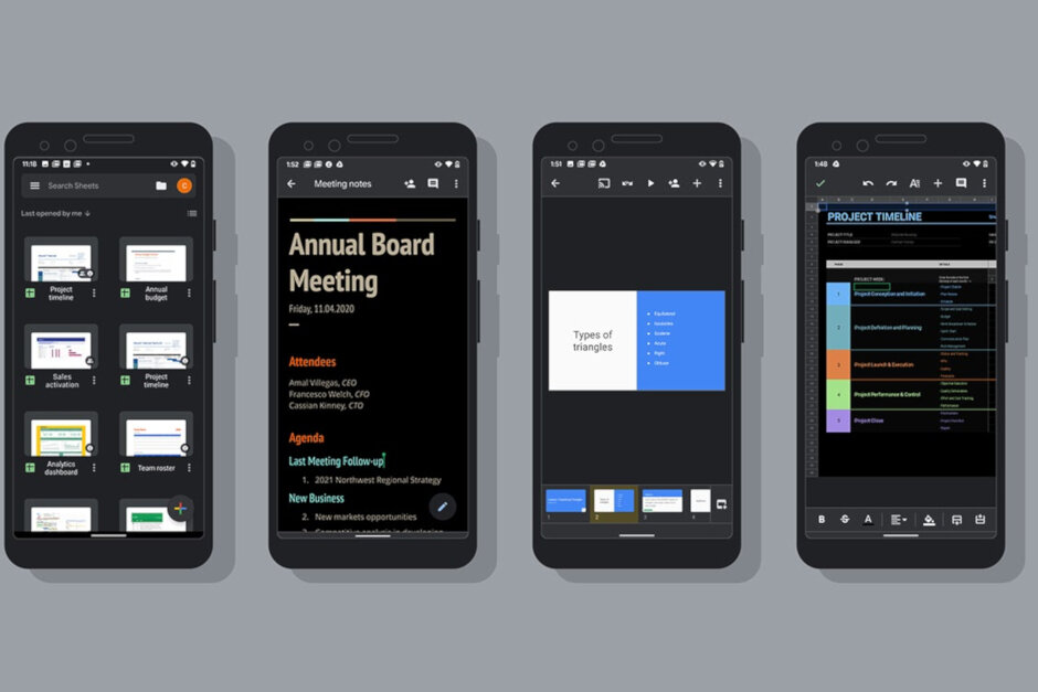Google Docs, Slides and Sheets finally getting dark mode on Android