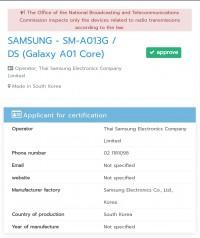 Samsung Galaxy A01 Core at the NBTC