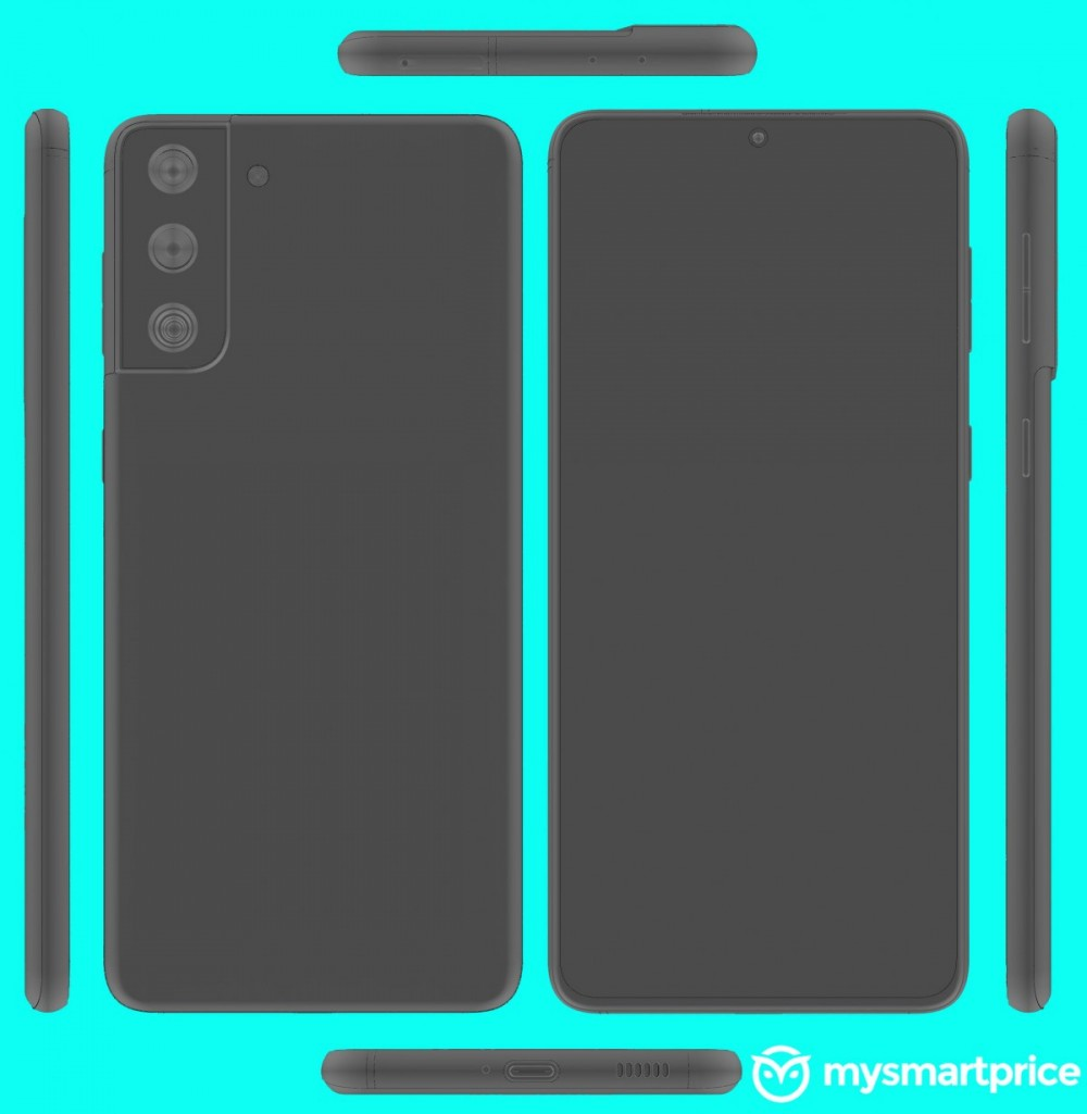 Samsung Galaxy S21+ CAD renders show the same camera as the S21 and a flat screen