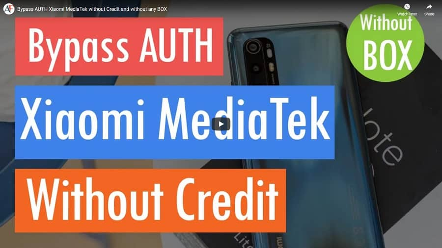 Bypass AUTH MTK Xiaomi without credit and without any Box