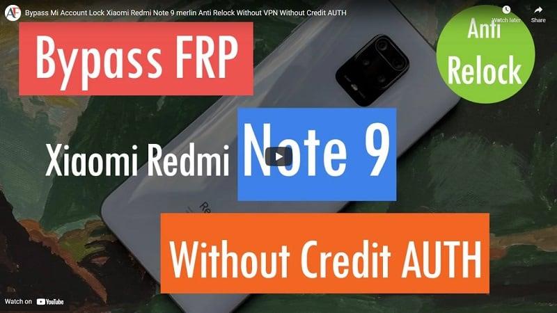 Bypass Mi Account Lock Xiaomi Redmi Note 9 merlin